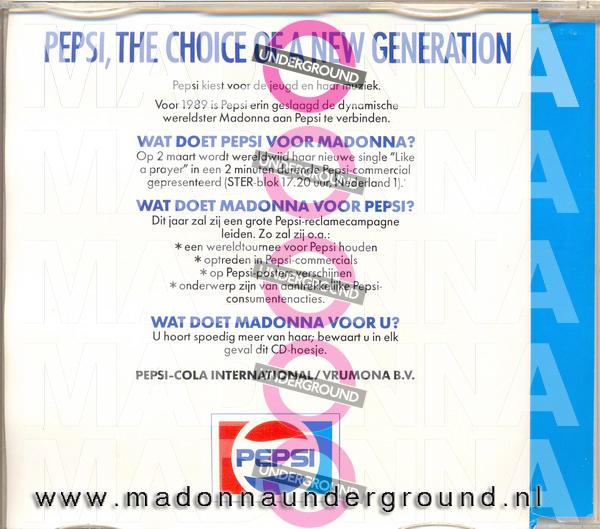 Pepsi Promo CD back