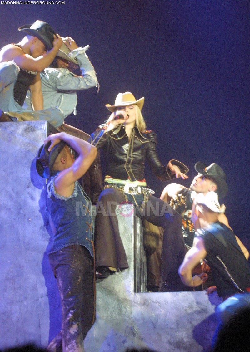 Madonna and dancers performing during the first show of her 'Drowned World Tour' at the Palau Sant Jordi in Barcelona, Spain, 6/9/01. PLEASE CREDIT Photo by Jon Furniss *** North American Sales Only ***